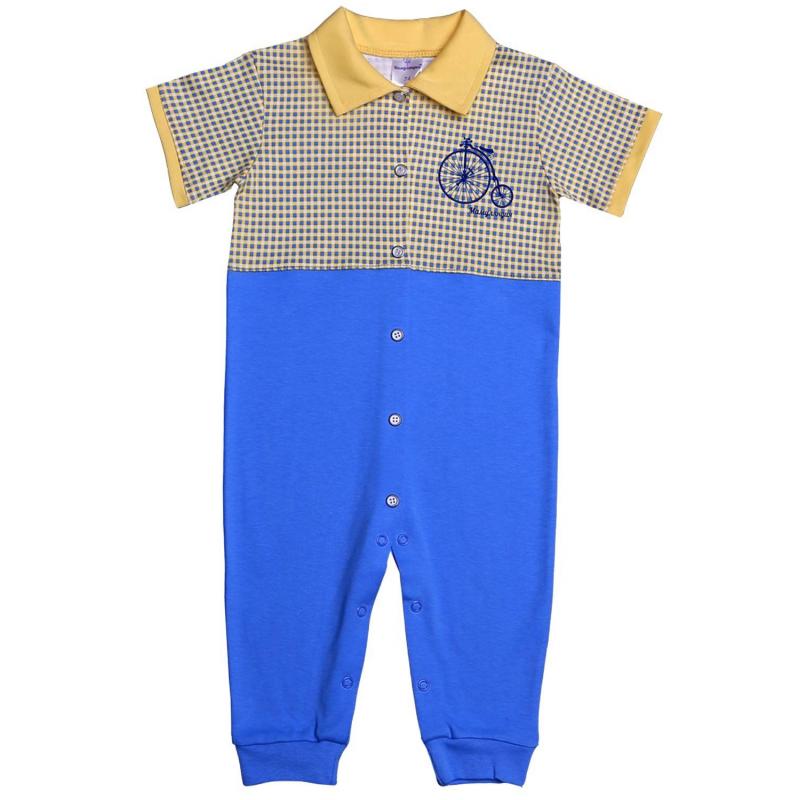 КомбинезонКомбинезон желто-голубого цвета марки Мамуляндия для мальчиков. Комбинезон с короткимрукавом и отложным воротничком выполнен из хлопкового трикотажа, украшен стильным принтом. Удобная кнопочная застежка проходит спереди по всей длине, а также по шаговому шву.<br>Большемерит на размер.<br><br>Размер: 3 месяца<br>Цвет: Желтый<br>Рост: 62<br>Пол: Для мальчика<br>Артикул: 620868<br>Страна производитель: Россия<br>Сезон: Всесезонный<br>Состав: 100% Хлопок<br>Бренд: Россия<br>Вид застежки: Кнопки