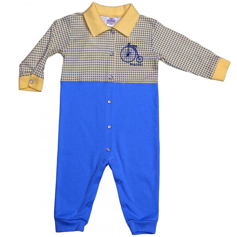 КомбинезонКомбинезон желто-голубого цвета марки Мамуляндия для мальчиков. Комбинезон с длинным рукавом и отложным воротничком выполнен из хлопкового трикотажа, украшен стильным принтом. Удобная кнопочная застежка проходит спереди по всей длине, а также по шаговому шву.<br>Большемерит на размер.<br><br>Размер: 12 месяцев<br>Цвет: Желтый<br>Рост: 80<br>Пол: Для мальчика<br>Артикул: 620866<br>Страна производитель: Россия<br>Сезон: Всесезонный<br>Состав: 100% Хлопок<br>Бренд: Россия<br>Вид застежки: Кнопки