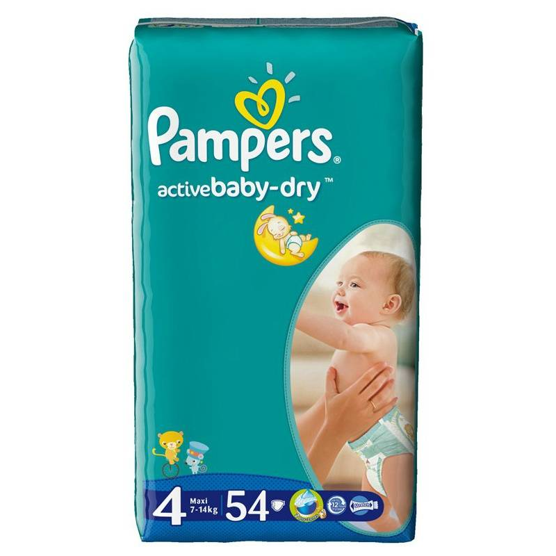 Pampers Подгузники Active Baby Maxi (7-14 кг), 54 шт. greenty подгузники greenty 5 13 кг 32 шт