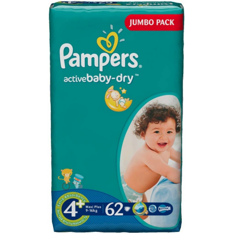 Pampers Подгузники Active Baby Maxi Plus (9-16 кг), 62 шт. подгузники pampers active baby dry размер 4 7 14 кг 132 шт