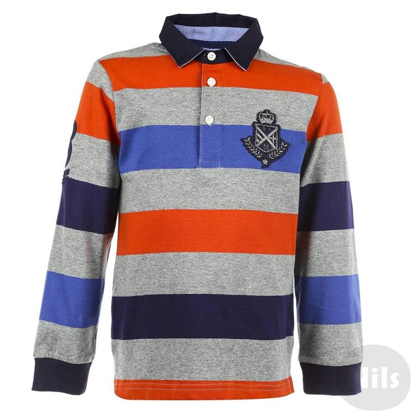 Рубашка-полоРубашка-поло с длинным рукавом марки Mayoral для мальчиков. Поло серого цвета в оранжевую и темно-синюю полоску выполнено из хлопкового трикотажа, застегивается на три пуговицы у ворота. Воротничок из тканого материала хорошо держит форму. Рубашка-поло украшена стильными нашивками на груди и на рукаве.<br><br>Размер: 6 лет<br>Цвет: Оранжевый<br>Рост: 116<br>Пол: Для мальчика<br>Артикул: 620582<br>Бренд: Испания<br>Страна производитель: Индия<br>Сезон: Осень/Зима<br>Состав: 100% Хлопок<br>Вид застежки: Пуговицы