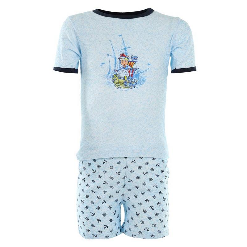 КомплектКомплект ночного белья голубого цвета марки Квирит для мальчика.Состоит из маечки с коротким рукавом и шорт. Маечка украшена принтом с изображением морячка, шорты - орнаментом с морской тематикой.<br><br>Размер: 4 года<br>Цвет: Небесный<br>Рост: 104-110<br>Пол: Для мальчика<br>Артикул: 550159<br>Страна производитель: Россия<br>Сезон: Всесезонный<br>Состав: 100% Хлопок