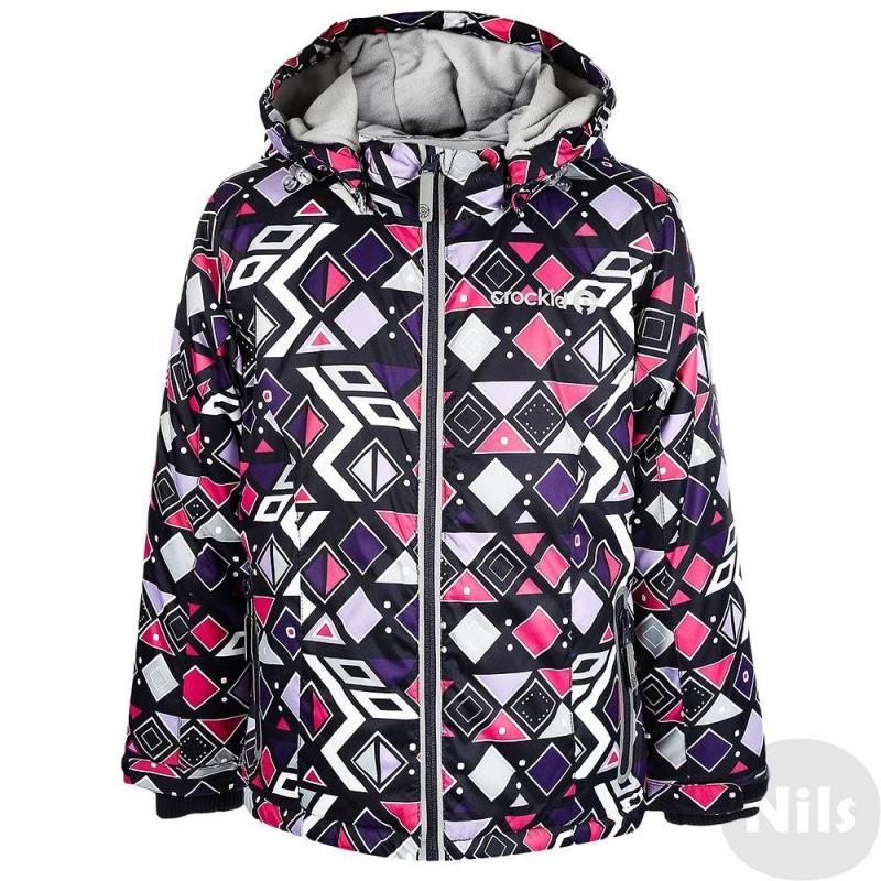КурткаЗимняя куртка фиолетовогоцвета с рисунком марки Crockid для девочек выполнена из водо- и ветронепроницаемого материала, который дышит и эффективно выводит лишнюю влагу в виде пара. Мембрана 5000 мм. Легкий и комфортный утеплитель нового поколения Fellex прекрасно сохраняет тепло, дышит.<br>Куртка имеет мягкую флисовую подкладку темно-серогоцвета, съемный капюшон на кнопках, два кармана с клапанами на поясе, удобные трикотажные манжеты, а также множество светоотражающих деталей для безопасности ребенка. Низ куртки регулируется эластичными шнурками со стопперами.<br><br>Размер: 5 лет<br>Цвет: Фиолетовый<br>Рост: 104-110<br>Пол: Для девочки<br>Артикул: 621368<br>Страна производитель: Китай<br>Сезон: Осень/Зима<br>Состав: 80% Полиэстер, 20% Полиуретан<br>Состав подкладки: 100% Полиэстер<br>Бренд: Россия<br>Наполнитель: 100% Полиэстер<br>Температура: до -20°