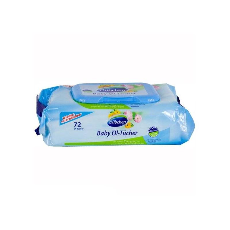 Очищающие салфетки промасленные 72 шт (Bubchen)