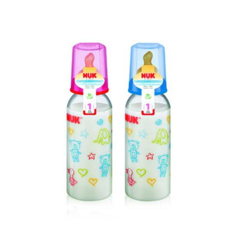 Nuk Бутылочка пластиковая + соска латексная, 240 мл.
