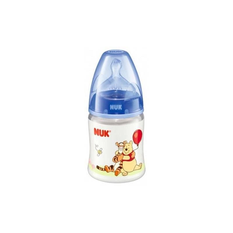 Бутылочка с ручками First Choice Disney, 150 мл.Бутылочка с ручками First Choice Disney, 150 мл. + cоска марки Nuk.<br>Бутылочка с силиконовой соской станет незаменимой детской посудой. С ее помощью ребенок будет учиться пить самостоятельно. Насадка рассчитана для детей от 6 до18 месяцев. Сделана из безопасных материалов (полипропилен, силикон).<br>С помощью бутылочки Nuk с силиконовой соской вы легко переведете ребенка от сосания груди к бутылочке, а затем и к самостоятельному питью. Насадка (рассчитана на возраст 6-18 мес.) сделана из силикона, поэтому она не имеет запаха, нейтральна на вкус и устойчива к воздействию температур. Съемные ручки не скользят, а специальная поверхность с «узелками» позволяет надежно удерживать бутылочку.Материал бутылочки: полипропилен (не содержит Bisphenol-A).Материал соски: силикон.Объем: 150 мл. Цвет голубой.<br><br>Возраст от: 6 месяцев<br>Пол: Не указан<br>Артикул: 621612<br>Бренд: Германия<br>Размер: от 6 до 18 месяцев