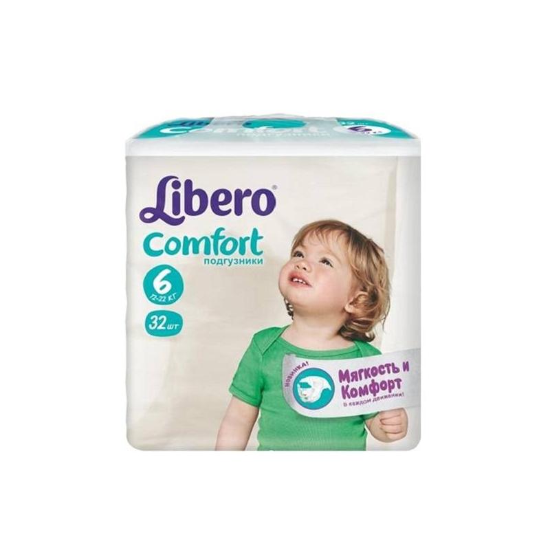 Подгузники Comfort Extra Large 12-22 кг 32 шт.Подгузники Libero Comfort Extra Large (12-22кг), 32 шт. – это ультра мягкие, комфортные, не стесняющие движений подгузники для детей.<br>Подгузники Libero Comfort отлично впитывают влагу и надежно удерживают ее внутри. Индикатор на передней стороне подгузника поможет понять родителям когда нужно менять подгузник -рисунокисчезнет при наполнении подгузника. Мягкий сетчатый внутренний слой Skin Care отлично вентилирует кожу и задерживает влагу и стул ребенка, не выпуская неприятные запахи - теперь малыш может не бояться раздражений и опрелостей!Подгузник повторяет контуры тела малыша и имеетанатомическуюформу - зауженные боковинки надежно прилегают к телу, не сдавливая кожу и предотвращая протекания, а тянущиеся застежки и поясок гарантируют комфорт и абсолютное удобство.Застежки можно расстегивать и застегивать несколько раз.<br>Размер: 6 (12 - 22 кг.)В каждой пачке сразу 2 разных дизайна подгузников.<br><br>Вес: 12-22 кг<br>Пол: Не указан<br>Артикул: 621627<br>Бренд: Швеция<br>Кол-во в упаковке: 32 шт.<br>Размер: Без размера