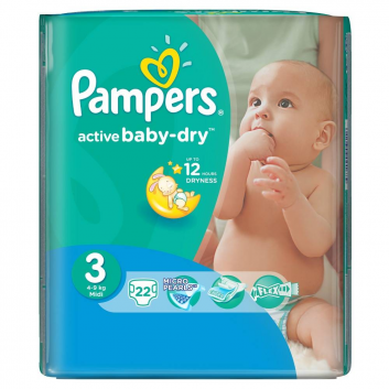 Гигиена, Подгузники  Active Baby midi (4-9 кг), 22 шт. Pampers 621722, фото