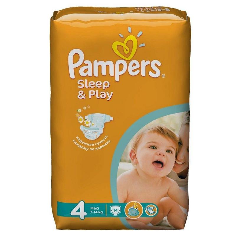 Подгузники Sleep&amp;Play Maxi (7-14 кг), 14 шт.Подгузники PampersSleep&amp;Play Maxi (7-14 кг), 14 шт.с ромашкой.<br>Качественные подгузники эконом-класса Pampers Sleep&amp;Play содержат экстракт ромашки с антисептическим эффектом. Экономят семейный бюджет и дарят спокойные ночи вашему малышу.Они бережно заботятся о детской коже, надолго сохраняя сухость и чистоту. Двойной впитывающий слой Super Dry гарантирует вашему малышу до 9-ти часов спокойного сна. Мягкий пористый верхний слой позволяет коже дышать и предотвращает раздражение. Экстракт ромашки оказывает мягкое антисептическое действие и деликатно ухаживает за кожей. Двойные манжетики по бокам защищают от протеканий.Возраст:от 6 месяцев до 2 лет.<br><br>Вес: 7-14 кг<br>Пол: Не указан<br>Артикул: 621717<br>Страна производитель: Польша<br>Бренд: США<br>Кол-во в упаковке: 14 шт.<br>Размер: Без размера