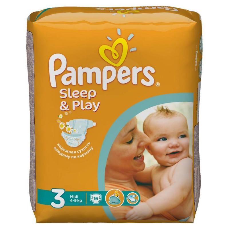 Подгузники Sleep&amp;Play Midi (4-9 кг), 16 шт.Подгузники PampersSleep&amp;Play Midi (4-9 кг), 16 шт.с ромашкой.<br>Качественные подгузники эконом-класса Pampers Sleep&amp;Play содержат экстракт ромашки с антисептическим эффектом. Экономят семейный бюджет и дарят спокойные ночи вашему малышу.Они бережно заботятся о детской коже, надолго сохраняя сухость и чистоту. Двойной впитывающий слой Super Dry гарантирует вашему малышу до 9-ти часов спокойного сна. Мягкий пористый верхний слой позволяет коже дышать и предотвращает раздражение. Экстракт ромашки оказывает мягкое антисептическое действие и деликатно ухаживает за кожей. Двойные манжетики по бокам защищают от протеканий.Возраст:от2 до 9 месяцев.<br><br>Вес: 4-9 кг<br>Пол: Не указан<br>Артикул: 621716<br>Страна производитель: Польша<br>Бренд: США<br>Кол-во в упаковке: 16 шт.<br>Размер: Без размера