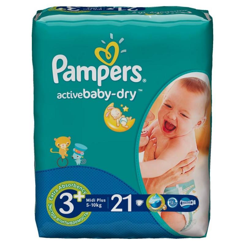 Pampers Подгузники  Active Baby Midi Plus (5-10 кг), 21 шт. active мезороллер mt05 0 5 мм active 12001 1 шт