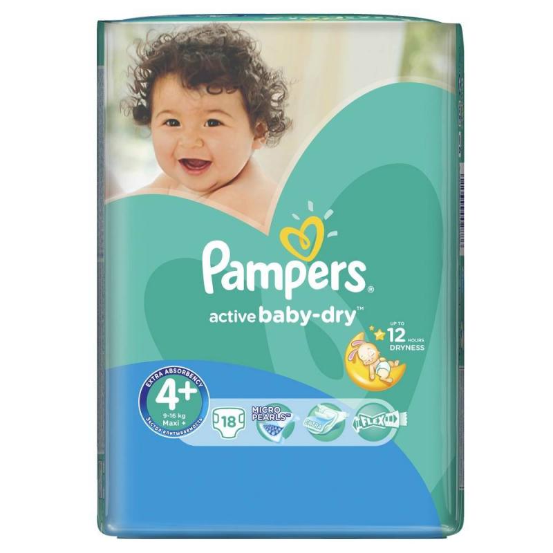 Подгузники  Active Baby Maxi Plus (9-16 кг), 18 шт.Подгузники Pampers Active BabyMaxiPlus (9-16 кг), 18 шт.<br>Подгузники Pampers Active Baby разработаны для подвижных малышей. Имеют анатомическую форму с эластичными вставками, удобно сидят и не стесняют движений.<br>С уникальным впитывающим слоем из микрогранул вся влага останется внутри подгузника, гарантируя абсолютную сухость в течение всей ночи, какие бы позы не принимал ваш малютка.<br>Подгузники имеют анатомическую форму, благодаря эластичным боковинкам и удобным манжетам они плотно прилегают к телу малыша, защищая от протеканий.Специальный внешний слой пропускает воздух, позволяя коже дышать.Подгузник пропитан детским бальзамом с алоэ для увлажнения и дополнительного ухода за нежной детской кожей.Возраст:от9 месяцев до 2,5 лет.<br><br>Вес: 9-16 кг<br>Пол: Не указан<br>Артикул: 621812<br>Страна производитель: Польша<br>Бренд: США<br>Кол-во в упаковке: 18 шт.<br>Размер: Без размера