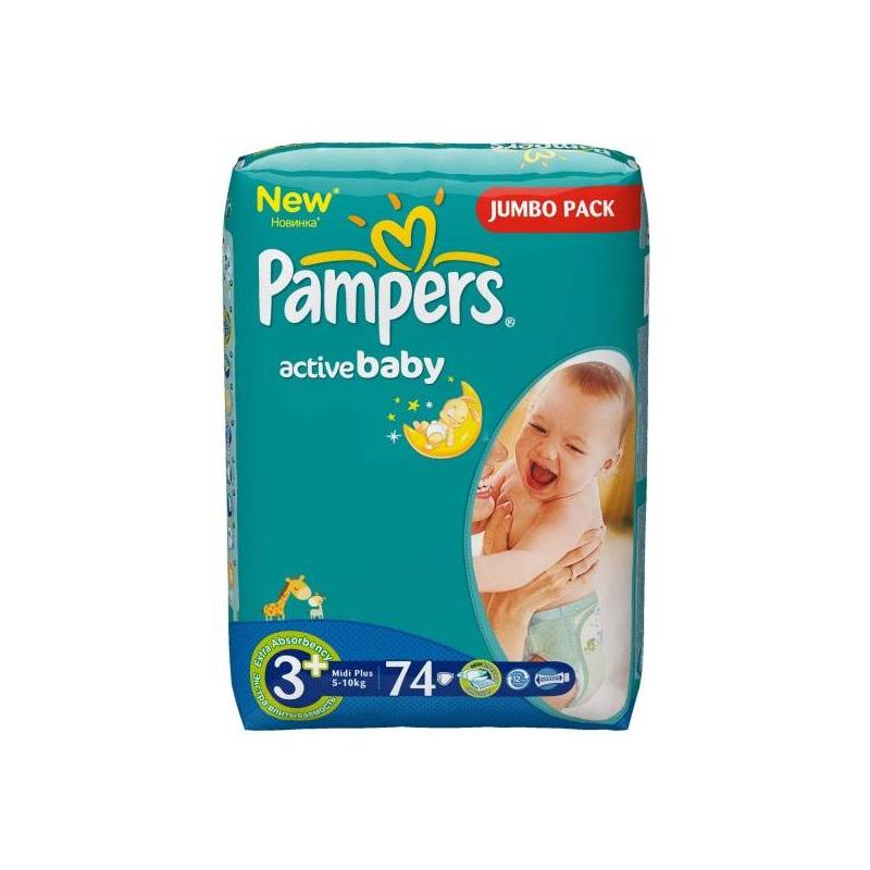 Подгузники  Active Baby Midi Plus (5-10 кг), 74 шт.Подгузники Pampers Active BabyMidi Plus (5-10 кг), 74шт.<br>Подгузники Pampers Active Baby разработаны для подвижных малышей. Имеют анатомическую форму с эластичными вставками, удобно сидят и не стесняют движений.<br>С уникальным впитывающим слоем из микрогранул вся влага останется внутри подгузника, гарантируя абсолютную сухость в течение всей ночи, какие бы позы не принимал ваш малютка.<br>Подгузники имеют анатомическую форму, благодаря эластичным боковинкам и удобным манжетам они плотно прилегают к телу малыша, защищая от протеканий.Специальный внешний слой пропускает воздух, позволяя коже дышать.Подгузник пропитан детским бальзамом с алоэ для увлажнения и дополнительного ухода за нежной детской кожей.Возраст:от3 месяцев до 1 года.<br><br>Вес: 5-10 кг<br>Пол: Не указан<br>Артикул: 621816<br>Страна производитель: Польша<br>Бренд: США<br>Кол-во в упаковке: 74 шт.<br>Размер: Без размера