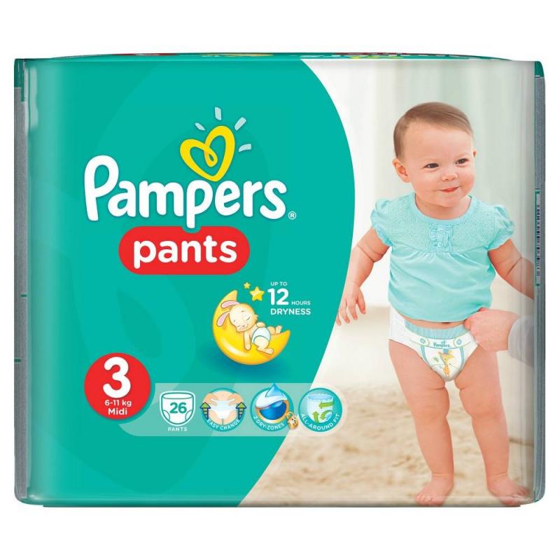 Подгузники-трусики Pants Midi (6-11 кг), 26 шт.Подгузники-трусики Pampers PantsMidi (6-11 кг), 26 шт.<br>Подгузники-трусики Pampers Pants легко надеваются и снимаются, что облегчает процесс приучения к горшку.<br>Подгузники изготовлены из мягкого материала с микропорами, который приятен на ощупь и обеспечивает свободную циркуляцию воздуха.Универсальный впитывающий слой мгновенно поглощает влагу и распределяет ее внутри подгузника, так что кожа малыша остается сухой и чистой.Сплошной эластичный пояс удобно удерживает трусики и легко растягивается, не затрудняя движений, а двойные манжеты мягко обхватывают ножки и исключают протекание.Трусики идеально садятся по фигуре ребенка благодаря анатомической форме, азабавный принт со зверятами развеселит малыша.Возраст: от 4месяцевдо 1,5лет.<br><br>Вес: 6-11 кг<br>Пол: Не указан<br>Артикул: 621822<br>Страна производитель: Польша<br>Бренд: США<br>Кол-во в упаковке: 26 шт.<br>Размер: Без размера