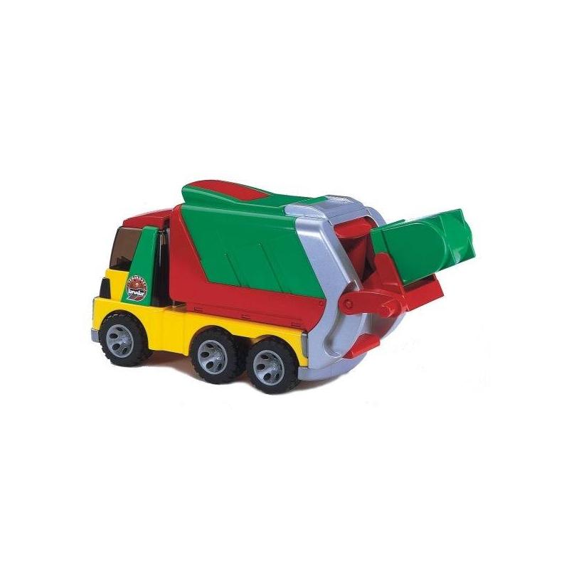 Мусоровоз RoadmaxИгрушка Мусоровоз ROADMAX от немецкого бренда Bruder.<br>Машина оснащена множеством функций, как у настоящего мусоровоза: ветровое стекло откидывается для доступа вкабину, кузов при разгрузке поднимается, задний борт откидывается. Кузов оборудован крышкой, котораянадёжно фиксируется защёлкой.<br>Задний борт кузова выдвигается засчёт телескопического механизма, оснащен подвижной дверцей в виде шторки. Есть специальная ручка дляпереворачивания контейнера в кузов, что позволяет полностью разгрузить мусор. Контейнер для мусора легко вынимается иустанавливается на свое место благодаря направляющим рельсам.<br>Игрушка выполнена из качественных материалов и соответствует европейскимстандартам качества.<br><br>Возраст от: 2 года<br>Пол: Для мальчика<br>Артикул: 621924<br>Бренд: Германия<br>Размер: от 2 лет