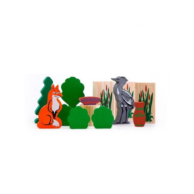 ТОМИК Конструктор Лиса и журавль томик деревянный конструктор цветной 26 деталей