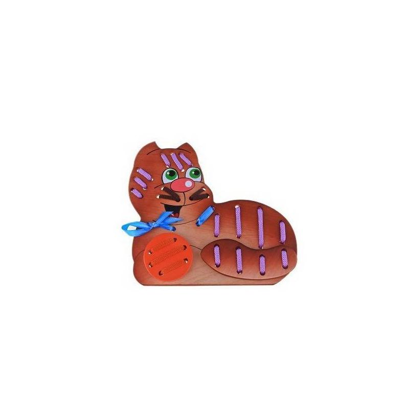 Игрушка-шнуровка Кот МорячокШнуровка Кот Морячок от бренда Крона - это занимательная шнуровка, которая помогает развить моторику пальчиков и улучшить координацию движений. Игрушка состоит из 3-х деревянных элементов, 3-х шнурков и ленточки. Все деревянные элементы изготовлены из натуральной экологичной древесины березы. «Кот Морячок»научит малыша шнуровать и делать стежки, что обязательно пригодится ему в жизни и, возможно, привьет любовь к рукоделию.<br><br>Возраст от: 3 года<br>Пол: Не указан<br>Артикул: 621898<br>Бренд: Россия<br>Страна производитель: Россия<br>Размер: от 3 лет