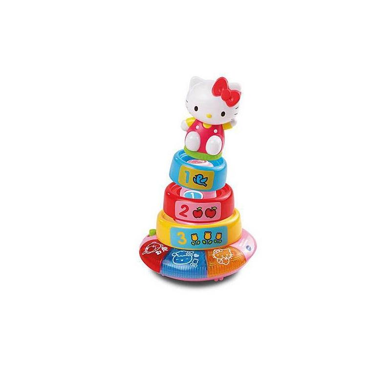 Обучающая пирамидка Hello KittyПирамидка Vtech Hello Kitty- великолепная интерактивная игрушка, сочетающая в себе игровые и обучающие функции. Игрушка профессионально озвучена и имеет кнопки со световыми эффектами.<br>Обучающая игрушка VTechHello Kitty - сделана в форме пирамиды с тремя яркими кольцами разного диаметра и съемной фигуркой киски KITTY в верхушке. Игрушка имеет 2 режима игры, которые познакомят малыша с цветами, цифрами и формами. У основания пирамиды есть кнопки со световыми и музыкальными эффектами, на которые малышу обязательно понравится нажимать. Игрушка имеет 17 веселых мелодий и 2 песенки.Купите своему малышу эту полезную игрушку в нашем магазине и развивайте его логическое мышление, а также зрительное, слуховое, тактильное восприятие. Игрушка работает от 2 батареек типа АА, которые идут в комплекте.<br>Интерактивные функции:<br>- 2 режима игры;-17 мелодий;-2 песенки;-Пирамида из трех колец;-Светящиеся кнопки;-Функция автоматического отключения.<br><br>Возраст от: 3 месяца<br>Пол: Для девочки<br>Артикул: 622410<br>Бренд: Китай<br>Страна производитель: Китай<br>Лицензия: Hello Kitty<br>Размер: от 3 месяцев