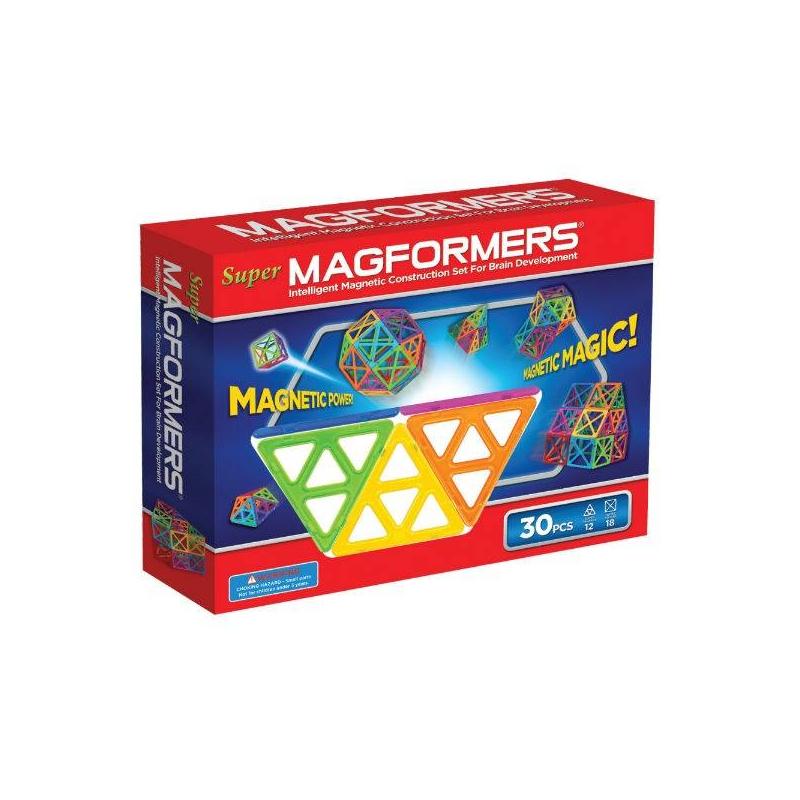 MAGFORMERS Магнитный конструктор Super, 30 деталей магнитный конструктор magformers ледяной мир 30 элементов 63136