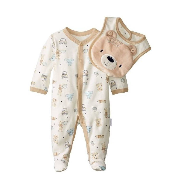 КомплектКомплект кремового цвета маркиVitamins Baby для малышей. Комплект состоит из комбинезона и двустороннего нагрудника,выполнен из стопроцентного хлопка. Комбинезон с длинными рукавами и закрытыми ножками украшен принтом с изображением милых зверят, застегивается на кнопки по всей длине спереди и по шаговому шву. Нагрудник двусторонний, одна сторона украшенарисунком, вторая - однотонная кремовогоцвета. Нагрудник украшен мягкой плюшевой вставкой с изображением медвежонка, которую при желании можно отстегнуть.<br><br>Размер: 0 месяцев<br>Цвет: Бежевый<br>Рост: 55<br>Пол: Не указан<br>Артикул: 623052<br>Страна производитель: Китай<br>Сезон: Всесезонный<br>Состав: 100% Хлопок<br>Бренд: США<br>Вид застежки: Кнопки