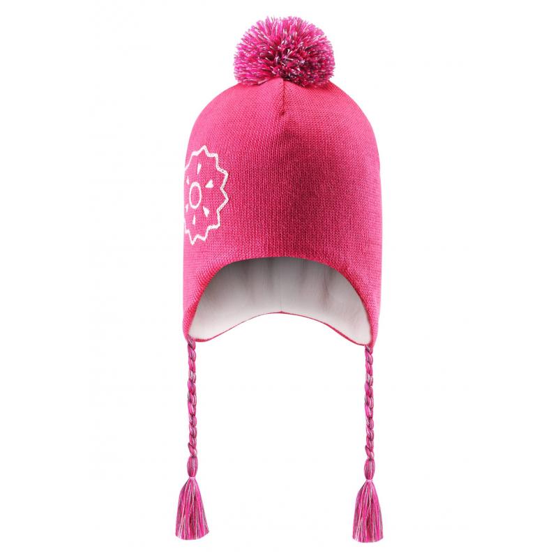 ШапкаЗимняя шапка розовогоцвета марки Lassie by REIMA для девочек. Теплая шапка выполнена из смеси натуральной шерсти и акрила, дополнена мягкой флисовой подкладкой. В области ушей специальные ветронепроницаемые вставки. Шапка украшена помпоном и завязками-косичками, а также вышивкой в виде цветка.<br><br>Размер: 2 года<br>Цвет: Розовый<br>Размер: 46-48<br>Пол: Для девочки<br>Артикул: 622226<br>Страна производитель: Китай<br>Сезон: Осень/Зима<br>Состав: 50% Шерсть, 50% Акрил<br>Состав подкладки: 100% Полиэстер<br>Бренд: Финляндия