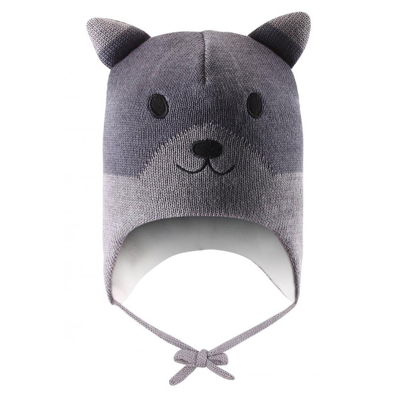 ШапкаЗимняя шапкасерогоцвета марки Lassie by REIMA. Теплая шапка выполнена из смеси натуральной шерсти и акрила, внутримягкая флисовая подкладка. В области ушей специальные ветронепроницаемые вставки. Шапка украшенаушками и вышивкой в виде забавной мордочки. Есть удобные завязки.<br><br>Размер: 12 месяцев<br>Цвет: Серый<br>Размер: 44-46<br>Пол: Не указан<br>Артикул: 622096<br>Страна производитель: Китай<br>Сезон: Осень/Зима<br>Состав: 50% Шерсть, 50% Акрил<br>Состав подкладки: 100% Полиэстер<br>Бренд: Финляндия