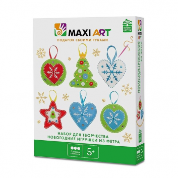 Творчество, Набор для Творчества Новогодние Игрушки из Фетра Maxi Art 171493, фото