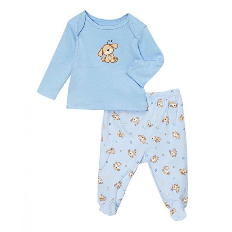 КомплектКомплект голубого цвета марки Vitamins Baby для мальчиков.<br>Комплект выполнен из стопроцентного хлопка, состоит из футболки с длинным рукавом и ползунков с закрытыми ножками. Футболка имеет специальный крой плечиков для удобства переодевания малыша, украшена аппликацией в виде собачки. Ползунки имеют удобную резинку на поясе, которая не давит; украшены орнаментом с собачками.<br><br>Размер: 0 месяцев<br>Цвет: Голубой<br>Рост: 55<br>Пол: Для мальчика<br>Артикул: 623073<br>Страна производитель: Китай<br>Сезон: Всесезонный<br>Состав: 100% Хлопок<br>Бренд: США