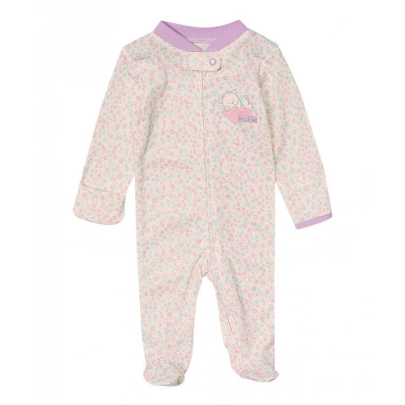 КомплектКомбинезонкремовогоцвета марки Vitamins Baby для девочек.<br>Комбинезон с длинными рукавами и закрытыми ножками выполнен из стопроцентного хлопка, украшен цветочным орнаментом. Застегивается комбинезон на молнию по всей длине спереди и на кнопку возле горлышка.Манжеты на рукавах сшиты таким образом, что ручки малыша можно легко открывать и закрывать. На груди комбинезон украшен аппликацией.<br><br>Размер: 0 месяцев<br>Цвет: Бежевый<br>Рост: 55<br>Пол: Для девочки<br>Артикул: 623099<br>Страна производитель: Китай<br>Сезон: Всесезонный<br>Состав: 100% Хлопок<br>Бренд: США<br>Вид застежки: Кнопки