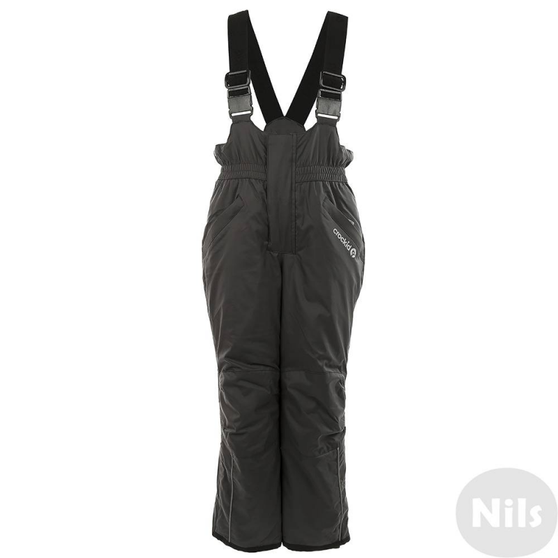 БрюкиЗимние брюки с подтяжками темно-серого цвета марки Crockidвыполнены из водо- и ветронепроницаемого материала, который дышит и эффективно выводит лишнюю влагу в виде пара. Мембрана 5000 мм. Легкий и комфортный утеплитель нового поколения Fellex прекрасно сохраняет тепло, дышит.<br>Брюки имеют удобные регулируемые подтяжки, широкий пояс на резинке, застегиваются на молнию и две кнопки. Спереди брюки имеют два кармана на молнии. Низ брюк внутри дополнен вставкой с резинкой для защиты от снега;молния и дополнительная застежка в виде липучки также обеспечивают надежную защиту от холода и снега. Внутри брюки имеют мягкую флисовую подкладку.<br><br>Размер: 7 лет<br>Цвет: Темносерый<br>Рост: 116-122<br>Пол: Не указан<br>Артикул: 621459<br>Страна производитель: Китай<br>Сезон: Осень/Зима<br>Состав: 80% Нейлон, 20% Полиуретан<br>Состав подкладки: 100% Полиэстер<br>Бренд: Россия<br>Наполнитель: 100% Полиэстер<br>Температура: до -20°