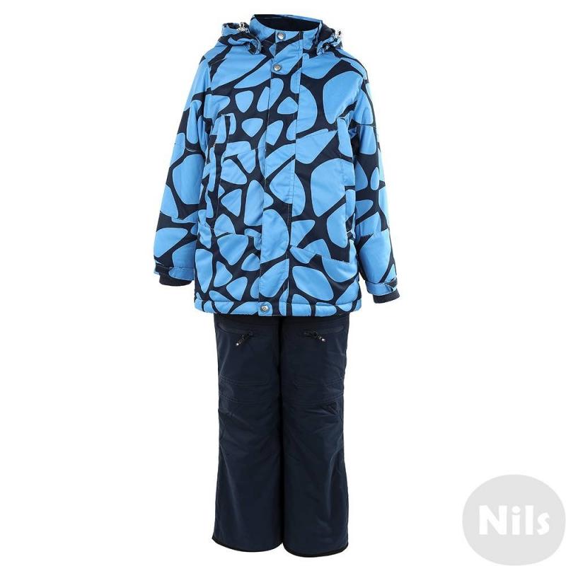 КомплектЗимний комплекттемно-синего цвета с рисунком марки Crockid длямальчиковвыполнен из водо- и ветронепроницаемого материала, который дышит и эффективно выводит лишнюю влагу в виде пара. Мембрана 3000 мм. Легкий и комфортный утеплитель нового поколения Fellex прекрасно сохраняет тепло, дышит.<br>Куртка имеет мягкую флисовую подкладку, съемный капюшон на кнопках, два кармана на молнии, удобные трикотажные манжеты, а также множество светоотражающих деталей для безопасности ребенка. Молния непромокаемая. Низ куртки регулируется эластичным шнурком со стопперами. Манжеты дополнены трикотажной резинкой, а также регулируются липучками.<br>Теплые брюки на эластичных регулируемых подтяжках имеют два кармана на молнии, внутренние манжеты для защиты от снега и светоотражающие детали.Низ штанин регулируется по ширине с помощью липучек.<br><br>Размер: 8 лет<br>Цвет: Темносиний<br>Рост: 122-128<br>Пол: Для мальчика<br>Артикул: 621466<br>Бренд: Россия<br>Страна производитель: Китай<br>Сезон: Осень/Зима<br>Состав: 80% Полиэстер, 20% Полиуретан<br>Состав низа: 80% Нейлон, 20% Полиуретан<br>Состав подкладки: 100% Полиэстер<br>Наполнитель: 100% Полиэстер<br>Температура: до -20°