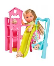 Кукла Еви с собачками набор Игровая площадка для питомцев 12 см Simba