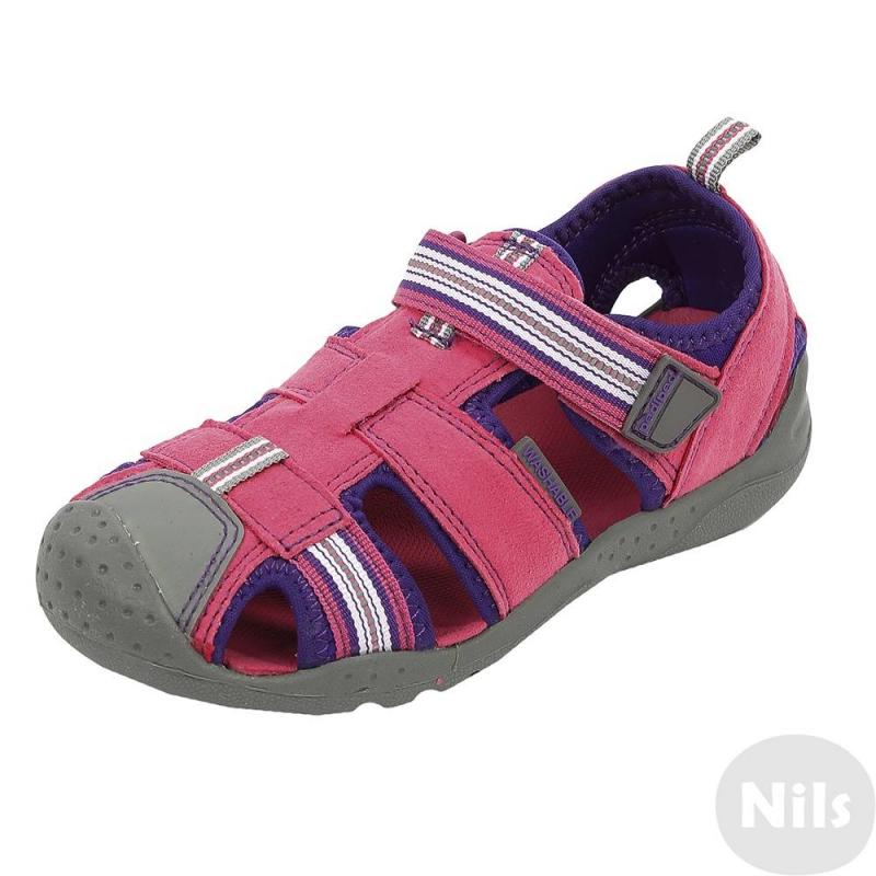 БосоножкиБосоножки ярко-розовогоцвета марки Pediped длядевочек.<br>Босоножкиразработаны и произведены американской компанией Pediped, которая выпускает качественную и красивую обувь для детей. Босоножкиотносятся к серии Flexc технологиейFlex Fit Systemсдополнительной 2 мм стелькой, которая позволяет корректировать размер. Декорированы босоножки вставками фиолетового цвета. Застегиваются с помощью удобной липучки.Данная модель произведена с использованием технологии G2 Technology: она характеризуется наличием специальной мягкой подошвы, закругленных углов на обуви,которые имитируют естественную форму стопы, обеспечивают отсутствие сдавливания пальчиков ног.Каучуковая подошва не скользит и не пачкает пол. Босоножкиможно носить как на улице, так и в помещении. Удобную и практичную модель можно стирать в стиральной машине благодаря особому составу из искусственной кожи и каучука. Благодаря технологии Water-safe босоножки не боятся воды.<br>Обувь марки Prdipedотличается повышенной износостойкостью, обладает грязеотталкивающими и гипоаллергенными свойствами.<br><br>Размер: 28<br>Цвет: Розовый<br>Пол: Для девочки<br>Артикул: 625465<br>Страна производитель: Китай<br>Сезон: Всесезонный<br>Материал верха: Искусственная кожа / Искусственный каучук<br>Материал подкладки: Текстиль<br>Материал подошвы: Каучук<br>Бренд: США