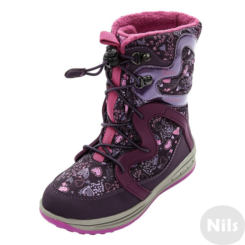 СапогиЗимниесапогифиолетовогоцветамарки GEOX для девочек. Теплые водонепроницаемые сапогисшитыиз прочного полиуретана и водоотталкивающего текстиля, имеютмягкую ворсистую флисовую подкладку. Стелька фетровая многослойная с теплоизоляцией. Удобная шнуровкаобеспечивает отличную посадку по ноге. Гибкая перфорированная подошва со специальной мембраной хорошо дышит, что предотвращает перегревание стопы и сохраняет ноги сухими и теплыми. Подошва абсолютно водонепроницаемая, не скользит и хорошо амортизирует.<br><br>Размер: 35<br>Цвет: Фиолетовый<br>Пол: Для девочки<br>Артикул: 623952<br>Страна производитель: Вьетнам<br>Сезон: Осень/Зима<br>Материал верха: Текстиль / Иск. кожа<br>Материал подкладки: Текстиль<br>Материал стельки: Текстиль<br>Материал подошвы: Резина<br>Бренд: Италия<br>Температура: до -20°
