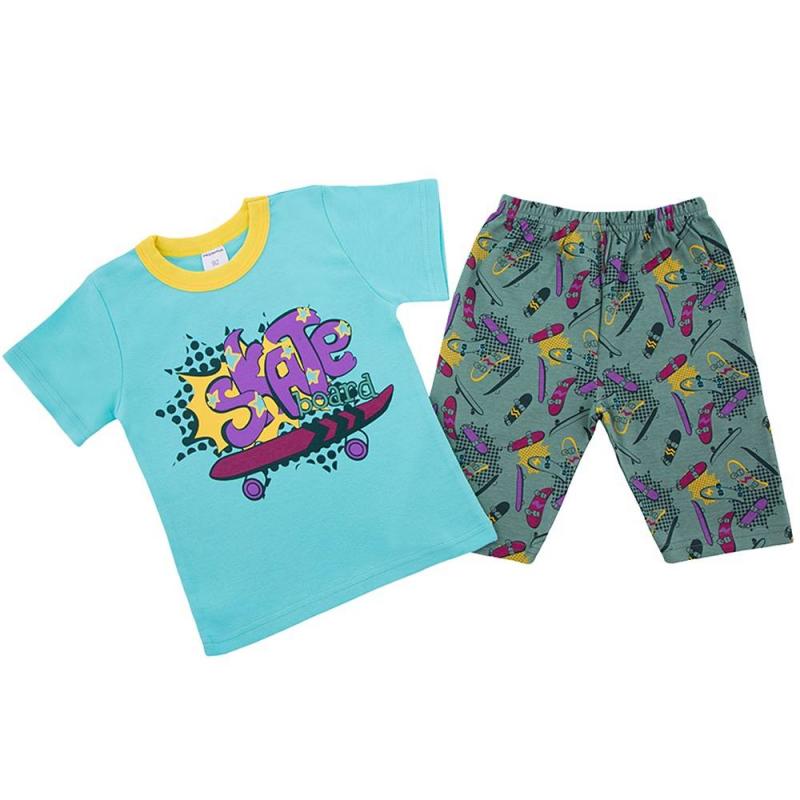 ПижамаПижама голубогоцвета марки Modamini длямальчиков.Пижама состоит из футболки с короткимрукавом и шортиков. Комплект сшит из качественного хлопкового трикотажа. Шортыимеют удобный пояс на резинке.Комплект украшен яркими принтами на тему скейтборд.<br><br>Размер: 3 года<br>Цвет: Голубой<br>Рост: 98<br>Пол: Для мальчика<br>Артикул: 623235<br>Страна производитель: Китай<br>Сезон: Всесезонный<br>Состав: 100% Хлопок<br>Бренд: Россия
