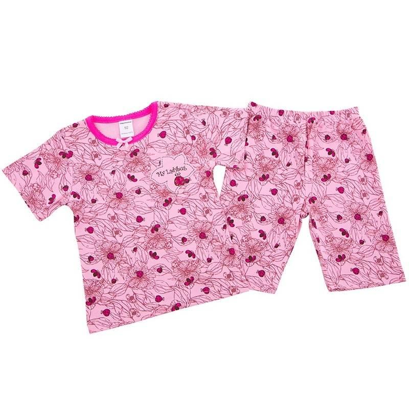 ПижамаПижама Божья коровкарозовогоцвета марки Modamini длядевочек.Пижама состоит из футболки с короткимрукавом и шортиков. Комплект сшит из качественного хлопкового трикотажа, украшен милым принтом с божьими коровками. Шорты имеют удобный пояс на резинке, футболка декорирована бантиком и аппликацией.<br><br>Размер: 5 лет<br>Цвет: Розовый<br>Рост: 110<br>Пол: Для девочки<br>Артикул: 623227<br>Страна производитель: Китай<br>Сезон: Всесезонный<br>Состав: 100% Хлопок<br>Бренд: Россия