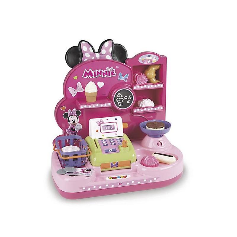 Игровой набор Мини-магазин MinnieИгровой набормарки Smoby Мини-магазин Minnie.<br>Мини-магазин Minnie – компактная игрушечная кондитерская. Полный комплект устройств для организации миниатюрного магазинчика в комнате девочки. Товары и касса в комплекте.В комплекте монолитный стеллаж с полочками и установленной кассой, товары и корзинки для покупателей, монетки и кредитная карта. В игрушечном магазине есть отдельная полочка с мороженым и имитация весов. Комплект не занимает много места и позволяет интересно играть, не разбрасывая товары и прочие игрушки по комнате. Идеальный подарок для девочки.<br>Мини-магазин Minnie имеет компактные габариты 36,5х22х42 см.<br><br>Возраст от: 3 года<br>Пол: Для девочки<br>Артикул: 624401<br>Бренд: Франция<br>Страна производитель: Китай<br>Лицензия: Disney<br>Размер: от 3 лет