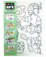 Коврик-раскраска для стола многоразовый прозрачный Лесные зверюшки