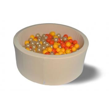 Спорт и отдых, Сухой бассейн Бежевое золото 40 см с 200 шарами в комплекте: оранж желт золот 100 HOTENOK 175607, фото