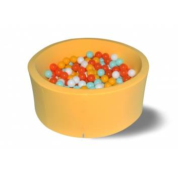 Спорт и отдых, Сухой бассейн Грейпфрут 40 см с 200 шарами в комплекте: желт бел оранж мятн HOTENOK 175609, фото