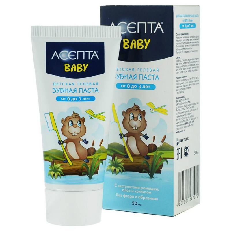 Зубная пастаЗубная паста АСЕПТА BABY туба 50мл подходит для детей от 0 до 3 лет.Зубная паста АСЕПТА BABY отлично очистит зубы малыша от остатков пищи, предотвратит развитие кариеса и укрепит тонкую эмаль. Богатый растительными экстрактами состав пасты полностью безопасен для здоровья крохи, он бережно заботится о чувствительных деснах, предотвращает возникновение стойкого налета, уменьшает раздраженность полости рта и чудесно освежает дыхание.<br>Детям с самого рождения необходима надежная защита и забота о полости рта. Обычные пасты ни в коем случае не подойдут для малышей - в них слишком много агрессивных химических веществ и они рассчитаны на очистку плотной эмали взрослого человека, а не на первые тонкие зубки и чувствительные десны.Зубная паста АСЕПТА BABY отлично справится с чисткой зубов крохи, благодаря своей легкой гелевой структуре, которая максимально бережно очищает и не травмирует эмаль. Ничего страшного, если малыш случайно проглотит немного пасты - она совершенно безопасна для здоровья. Зубная паста обогащена экстрактами лекарственных растений: алоэ и фенхеля, имеет приятный вкус.<br><br>Возраст от: 6 месяцев<br>Пол: Не указан<br>Артикул: 624325<br>Бренд: Россия<br>Размер: от 6 месяцев
