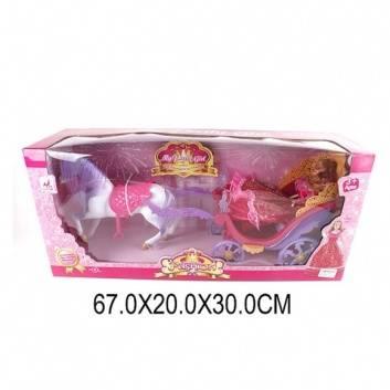 Игрушки, Карета Ажурная с лошадью и куклой 29 см Наша Игрушка 206756, фото