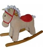 Лошадка-качалка Мультик беж 65 см звук кор Наша Игрушка