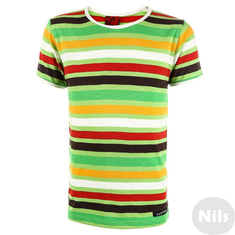 ФутболкаФутболка зеленогоцвета маркиVillervalla.<br>Модная футболка - отличный вариант универсальной одежды для весенне-летнего сезона. Футболкасшита из мягкого хлопкового трикотажа, декорирована оригинальным рисунком в полоску и белой окантовкой.<br>Одежда шведской маркиVillervallaотличается яркими цветамии оригинальным внешним видом. Она производится только из тщательно проверенных и безопасных для ребенка материалов.Качество швов и продуманный крой обеспечивают отличный внешний вид и удобство носки.<br><br>Размер: 5 лет<br>Цвет: Зеленый<br>Рост: 110<br>Пол: Не указан<br>Артикул: 624614<br>Сезон: Весна/Лето<br>Состав: 100% Хлопок<br>Бренд: Швеция