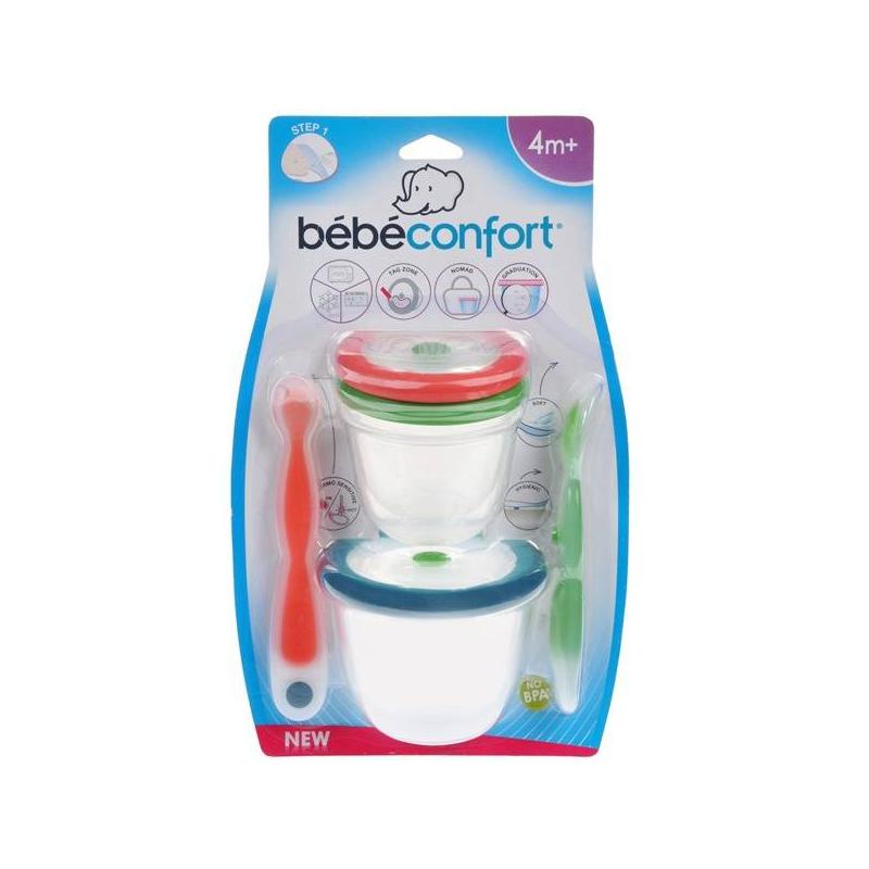 Bebe Confort Набор ложечек этап 1 и 2 + контейнеры набор для хранения и разогрева пищи bebe confort контейнеров