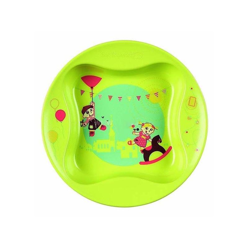 ТарелкаТарелка с крышкой в форме листа клевера Bebe Confort.Тарелка зеленогоцвета имеет рисунок на дне и удобный широкий бортик. Тарелку можно мыть в посудомоечной машине. Изготовлена из материала, безопасного для здоровья малыша.<br>Тарелка Bebe Confort в форме листочка клевера позволит в игровой форме приучить вашего малыша к самостоятельному приему пищи. Оригинальная форма позволит распределить разные виды пищи по тарелке.Чтобы увидеть забавный рисунок на дне тарелки, ребенку нужно будет съесть все содержимое.<br><br>Возраст от: 18 месяцев<br>Пол: Не указан<br>Артикул: 624240<br>Бренд: Франция<br>Размер: от 18 месяцев