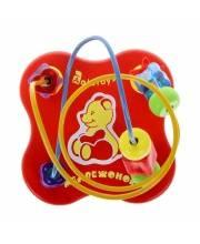 Деревянная игрушка лабиринт Мишка красная Alatoys