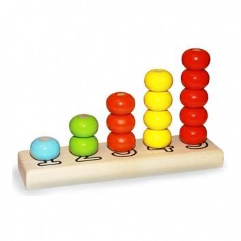 Игрушки, Пирамидка из дерева Счеты геометрические фигуры 15 элементов Alatoys 180967, фото