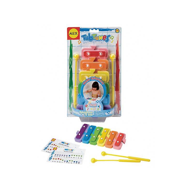 Игрушка для ванны Плавающий ксилофонИгрушка для ванной Alex Плавающий ксилофонпоможет вашему малышу обучиться нотной грамоте. Звонкие, мелодичные звуки, которые издает ксилофон, несомненно, заинтересуют ребенка.<br>В состав набора входит ксилофон и специальные палочки, прикрепленные к инструменту. Игрушка выполнена из качественных материалов и окрашена безопасными и надежными красителями, которые не потекут при постоянном воздействии воды. Игрушка-ксилофон рекомендуется для детей от 3-х лет.<br><br>Возраст от: 3 года<br>Пол: Не указан<br>Артикул: 624422<br>Бренд: США<br>Размер: от 3 лет