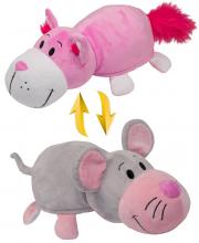 Плюшевая Вывернушка 35 см 2в1 Розовый кот-Мышка 1Toy